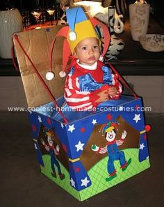 """Homemade Jack In The Box Costume """"I got out a box from moving recently and just started coloring on poster board copying the images on the actual Jack in the box. I found a used clown costume at a thrift store, altered it a little and made him a jester hat out of foam sheets."""""""