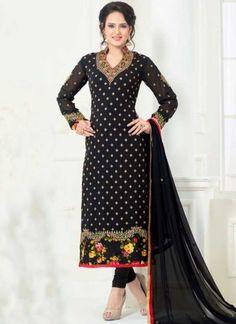 Black Embroidery Booti Work Georgette Designer Fancy Churidar Suit http://www.angelnx.com/Salwar-Kameez/Churidar-Suits