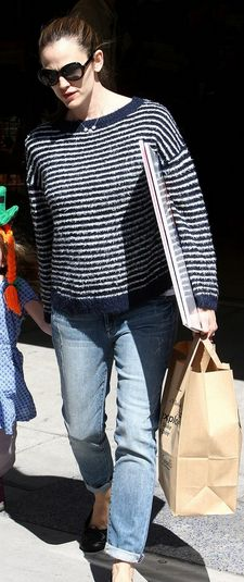Who made Jennifer Garner's stripe top and black ballet flat shoes that she wore in Santa Monica on March 9, 2013? Shirt – Theyskens' Theory  Shoes – Chanel