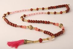 Pink Jade Granite and Rose Quartz necklace mala beads by Lolakedem Jade Necklace, Quartz Necklace, Gemstone Necklace, Tassel Necklace, Unique Necklaces, Handmade Necklaces, Handmade Jewelry, 40th Birthday Gifts For Women, Bohemian Accessories