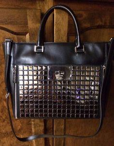 Michael Kors Black Natalia Large Leather Studded Tile Tote/Handbag #MichaelKors #TotesShoppers