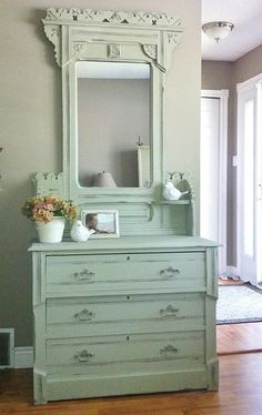 Eastlake dresser painted in ASCP Chateau Grey and Old white mix Blue Butterfly Renew