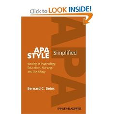 APA Style Simplified: Writing in Psychology, Education, Nursing, and Sociology Apa Style, Internet, Nursing Students, Sociology, Professor, Writing, Education, School, Books