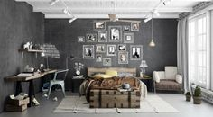 Interior, : Cool Bedroom Decorating Ideas With Industrial Decor Theme Using Brown Wooden Bed Frame Complete With Box Wooden Storage And Bunk Also Rug On The Grey Ceramic Floor Complete With Wall Shelf And Desk Plus Nice Wall Decoration And Chic Pendant Lamp Hanging On The White Ceiling