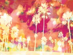 Palms - Pink - Urban Road. This ode to sunny California depicts tall palm trees swaying in the breeze. Its tropical inspired palette incorporates the colours of the sun, sand and surf for a laid back, beachy aesthetic. A fantastic choice for modern beach homes or for those who wish to adorn their décor with colour and positivity.