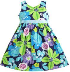 Girls Dress Blue Belt Flower Print Party Kids Sundress Size 9-10 NWT