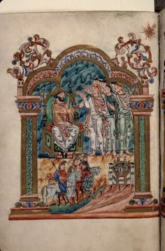 The Visit of the Magi to Herod   From Sacramentary  Illuminated manuscript  Circa 1020  From South east England  f. 036v ms. 0274   BM Rouen