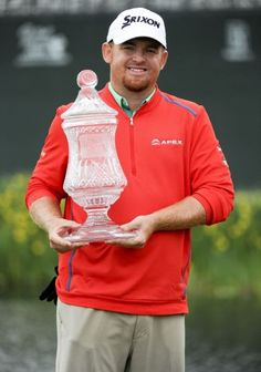 J.B. Holmes poses with the champion's trophy after winning the Shell Houston Open #golf #golfers   Rock Bottom Golf #rockbottomgolf