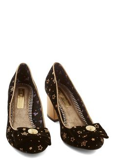 The Only Galaxy for Me Heel in Astronomer. The scene through your telescope isnt the only thing thats stellar - so is your look since its grounded in these black heels! #gold #prom #modcloth