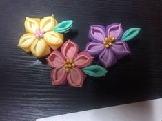 Handmade Kanzashi Flower Hair Pin / Kanzashi fabric flowers /