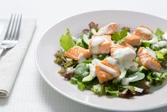 warm salmon salad!....... not that keen on warm Salmon but I could just leave it to get cold!!