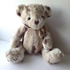 Dennis-Basso-Home-16-Plush-Teddy-Bear-Marbled-Grey-With-Scarf-DB-foot-monogram