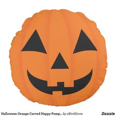 Halloween Orange Carved Happy Pumpkin Face Round Pillow -  Make a statement without having to say a word when you accent your home with these Halloween pillows.  hop Now.