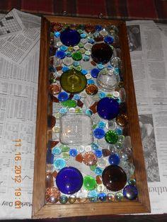 Glass Bottle Crafts   Glass Frame ~~ Wine Bottles, Glass Stones, Sea Glass, Beer Bottles ...