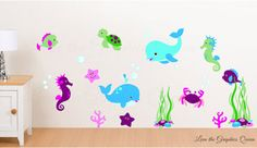 Under the Sea Animals Wall Decal  Reusable di LeenTheGraphicsQueen, $65.00