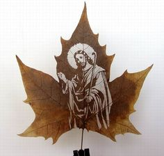 Leaf carving art is one of the newest art forms in recent years. Selective leaves are carefully chosen from the Chinar tree which is native to India, Pakistan and China. Once gathered, leaves are then put through a 60 step process such as shaving, pressing, curing, dying and so on. The outer surface of the leaf is carefully removed without cutting or removing the leafs veins which add detail into the subject matter of the carving.