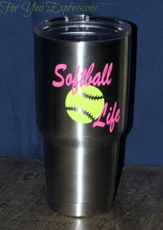 Softball life 2 colored vinyl decal. Fun decal to add to anything. Created by For You Expressions on Etsy