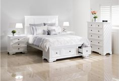 Quebec Queen Bedroom Suite - Bringing far more than just style to your bedroom, features three clever storage drawers in the low footend Super A-Mart Queen Bedroom Suite, King Bedroom, Bedroom Suites, Bedroom Furniture, Bedroom Decor, Furniture Packages, White Bedding, Quebec, House Design
