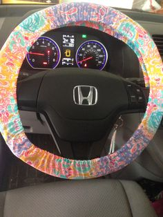 Steering Wheel Cover made with Lilly Pulitzer Written in the Sun Fabric by SewPinkandSewGreen on Etsy https://www.etsy.com/listing/219309437/steering-wheel-cover-made-with-lilly