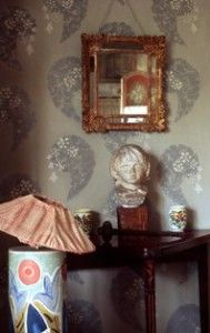 From Vanessa Bell's house in Charleston. Handmade wallpaper. Vanessa (Virginia Woolf's sister) handpainted all the furniture as well!