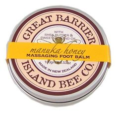 Great Barrier Manuka Honey Massaging Foot Balm by Great Barrier Island Bee Co.. $18.90. Made with Great barrier Island manuka honey. With manuka honey, shea butter and sweet almond oil. Imported by Koru Naturals. Great Barrier Massaging Foot Balm 100gr/3.53oz Tin Pot. Soothe tired feet with this moisturizing Foot Balm containing Shea Butter, Manuka Honey and Manuka oil. Massage in to leave your feet nourished and refreshed. NO synthetic colors, NO parabens. With the Great Barrie...