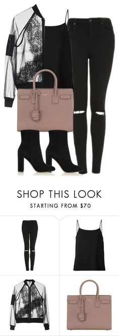 """""""Untitled #4291"""" by maddie1128 ❤ liked on Polyvore featuring Topshop, Helmut Lang, Yves Saint Laurent and Gianvito Rossi"""