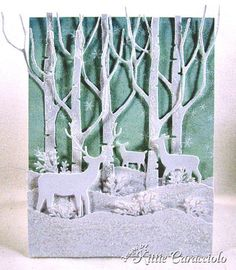 Sparkly Snow, Tall Birch and Deer Trio card - bjl