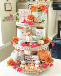 Tray Decor, Manualidades Halloween, Tiered Stand, Fall Home Decor, Autumn Home, Holiday Decor, Thanksgiving Decorations, Fall Decorations, Thanksgiving Wood Crafts