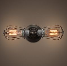 RH's Marconi Caged Inline Double Sconce:Often used as factory lighting, caged sconces provided space-saving illumination while protecting the costly bulbs they housed. Ours was built to follow the curving lines of vacuum tubes, employed in both Marconi's early radios and Edison's electrical lighting.