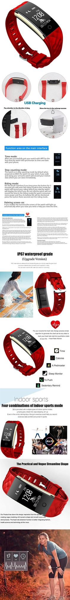 Fitness Tracker with Heart Rate Monitor, Nasion.V [Exercise Watch] Heart Rate Health Monitor Tracke Calorie Intake Smart Watch Activity Walking Pedometer Smart Wristband for Android or iOS (Red)