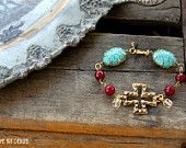 Gemstone, Turquoise, Cross and Vintage Rosary Bead  One of a Kind Bracelet...Gypsy Two