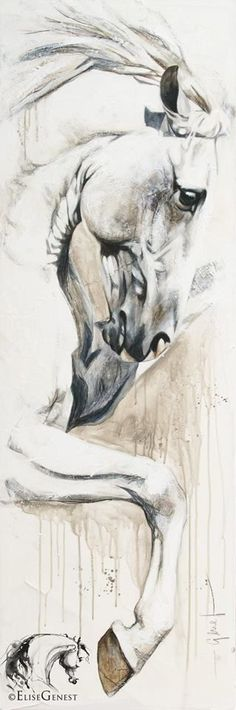 Artist Elise Genest Arts & Chevaux Zairo, again and again acrylic on canvas 20x60