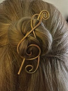 Music Metal Hair Stick Barrette Slide Clip Gold by ChatterCats