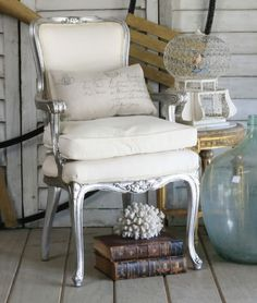 One of a Kind Vintage Silver Leaf Louis XV French Style Single Arm Chair
