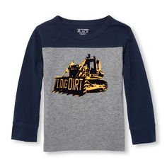 Toddler Boys Long Sleeve Pieced Graphic Top