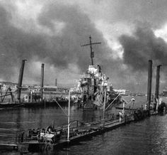 80-G-32769: Japanese Attack on Pearl Harbor, December 7, 1941. USS Shaw (DD 373) in floating drydock after the attack. (9/9/2015).