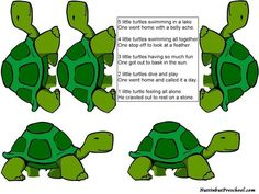 Five Little Turtles Flannel Board: