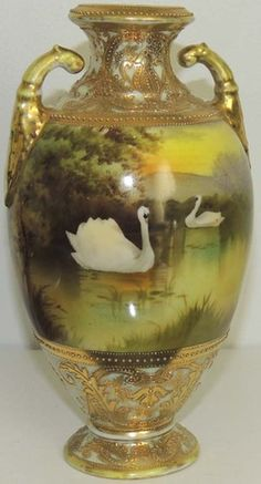 Exquisite Antique Nippon Amphora Vase Hand Painted with Beaded Gilding   eBay
