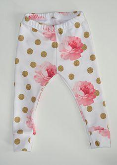 baby girl leggings organic cotton leggings by LittleBeansBabyShop
