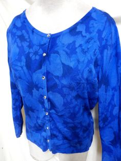 White House Black Market EUC Blue Floral Rhinestone Snaps Cardigan Sweater XL #WhiteHouseBlackMarket #Cardigan
