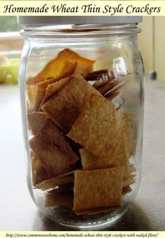 Homemade Wheat Thin Cracker Recipe with Soaked Flour - light and crispy, easy to make. You can adjust this recipe to your tastes and add different spices, etc. Whole Food Recipes, Snack Recipes, Cooking Recipes, Flour Recipes, Bread Recipes, Baking Cookbooks, Wheat Thins, Chocolate Pudding Recipes, Homemade Crackers