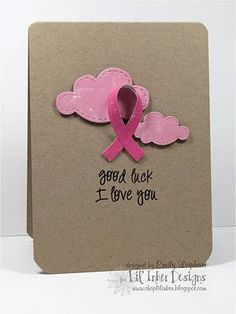 pink clouds and ribbon on kraft