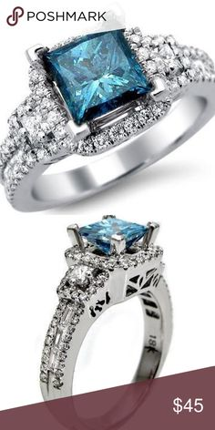 Silver blue zirconia 💍 ring size 8, 💍 blue zirconia marquise center stone with zirconia stones all around, a beautiful ring, I wear mine all the time 💍great, a great gift for you or someone special! Valentine's Day is near! 💕 🎁 Jewelry Rings