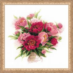 Riolis 1259 10 Count Peonies In A Vase Counted Cross Stitch Kit, 15.75' x 15.75' *** Continue to the product at the image link. (This is an affiliate link and I receive a commission for the sales)