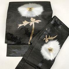 Black, silk tsukuri obi for summer / 見事な刺繍の花柄を施した夏用の二部式帯 http://www.rakuten.co.jp/aiyama #Kimono #Japan #aiyamamotoya