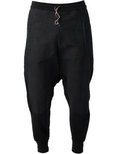 Lost And Found: Black cotton drop crotch trousers