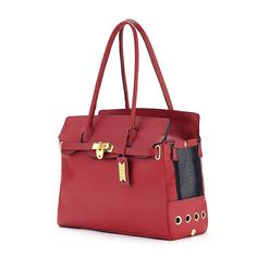 Cece Kent Nantucket Dog Carrier- Red-Nantucket Dog Carrier- Red, by CeCe Kent. Garnet pebbled French leather dog carrier with mesh on one end and a dog peak on the other. Both ends can be covered for traveling incognito. Dog Carrier Purse, Dog Purse, Dog Bag, Designer Dog Carriers, Designer Dog Collars, Dog Bike Basket, Biking With Dog, Pet Stroller, Pet Fashion