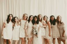 Boho bridesmaids in ivory lace dresses