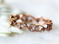 Art Deco Full Eternity Diamonds Wedding Band Engagement Ring Anniversary ring  Antique Diamond Ring Jewelry Band in 14K Rose Gold by InOurStar on Etsy https://www.etsy.com/listing/207598271/art-deco-full-eternity-diamonds-wedding