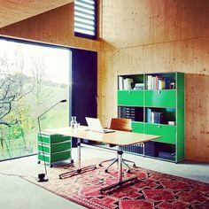 Home office - life is short, work somewhere awesome.  #homeoffice #officedesign #interiordesign #homedesign #greatplacetowork  #green #officeturniture #modular #furniture #swissmade #swissdesign #USMhaller #usmmakeityours #usmmodularfurniture